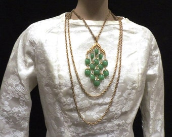 Crown Trifari Necklace Waterfall Jade Green Lucite Chandelier Signed Costume Jewelry Christmas Gift