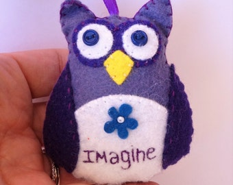 Owl Ornament, Imagine Owl, Owl Christmas Ornament, Felt Christmas Ornament, Hanging Owl Ornament