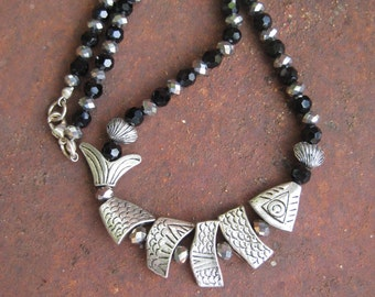 Worry Fish Beaded Necklace - Black and Silver Beaded Necklace - Silver Metal Worry Fish Necklace