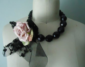Black and Pink Boho Necklace, Upcycled Necklace,Fun Flower Necklace,Eco Friendly Dramatic Costume Jewelry Necklace, Bohemian Flower Necklace