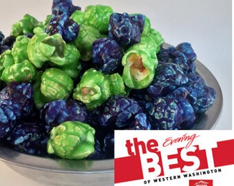 BLUE RASPBERRY Freedom Snacks Glazed Handcrafted Seattle's Own #12 Gourmet Popcorn