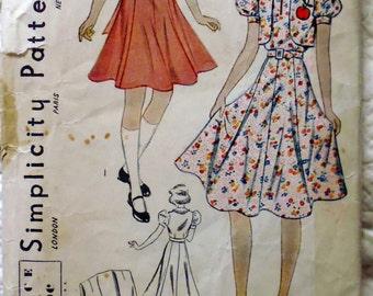 Simplicity 2669 dress and bolero pattern, bust 32, gored skirt, 1940s dress pattern, intermediate pattern, unmarked pattern pieces
