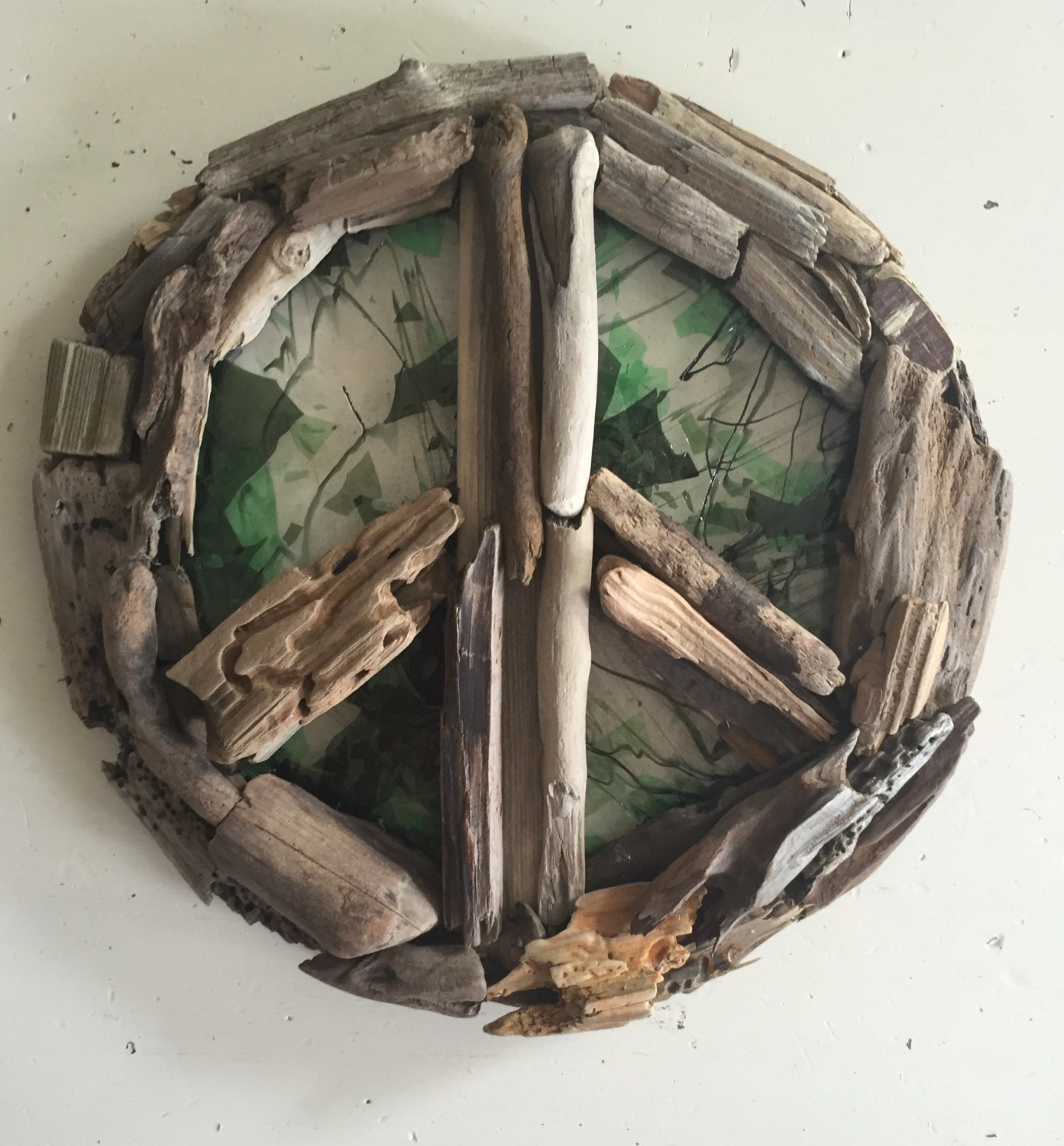 Driftwood peace sign with stained glass ready to ship for How to make stained glass in driftwood