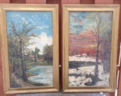 Antique paintings oil on canvas landscape paintings in gold frames - pair