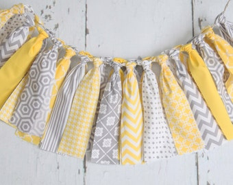 Streamer Banner - Rag Tie Banner - Photography Prop - Room Decor - Spring Banner - Yellow and Grey Banner