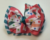 Coral, Teal, Peach, Chevron Multicolor Dachshund Weenie  Dog Stacked Boutique Style Ribbon Bow Handmade for PETS Dog Collar Accessory