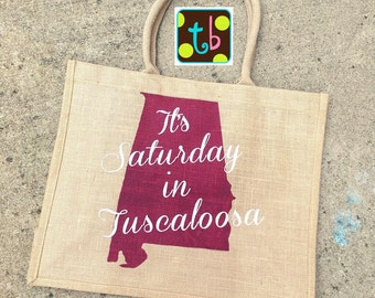 Alabama Roll Tide Burlap Tote Bag