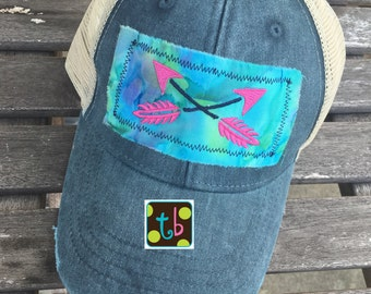 Boho Follow Your Arrow Distressed Trucker Hat