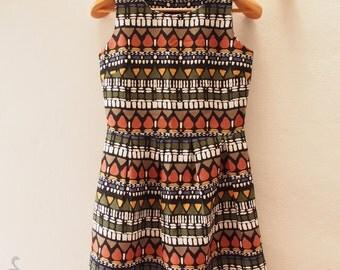 SALE - Short Summer Dress - Vintage Inspired - Sleeveless Dress - Pleated Skirt - Kitsch Dress Party Dress - Size M (US6-8)
