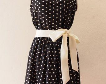 Ready to Ship - Polka Dots Party Women Halloween Dress Black Summer Dress, Vintage Inspired, Pin up Rockabilly, Swing Dancing Skirt, S, M, L