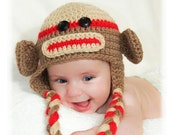 Crochet baby sock monkey hat.  Brown red and cream ear flap sock monkey hat for infant photography prop halloween costume.  Made to order.