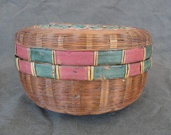 "6"" Antique Pine Needle Basket Red Green w/ Lid Sewing"