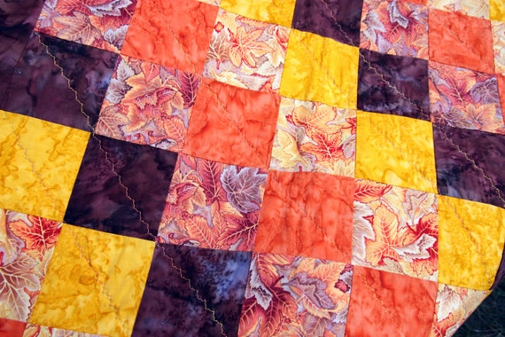 CLEARANCE SALE Fall Sunset, Batik Patchwork Quilt by PingWynny