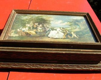 1800s Victorian Devil Nymphs Angels Ladies Garden JEWELRY Box Carved Wood with Mirror One of a Kind Art Box