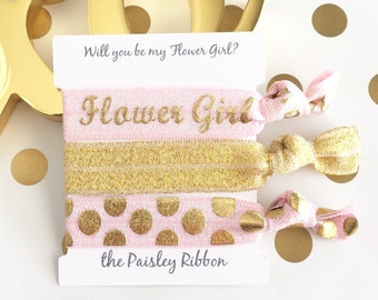 Pink and gold Will you be my Flower Girl hair tie set with display card, flower girl box, flower girl gift, flower girl thank you, wedding