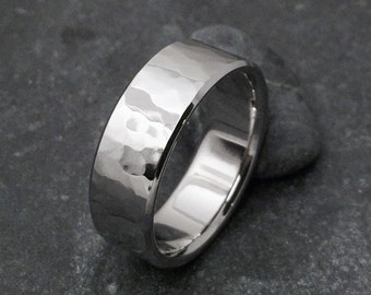 Titanium Hammered Ring, Titanium Band, Mens Ring, Womens Ring, Titanium Wedding Ring, Wedding Band, Engagement Ring, Hammered Band, Promise
