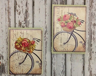 Dollhouse Miniature Shabby Chic Light Green Wooden Sign Victorian Bikes and Flowers Wall Art - Set of 2