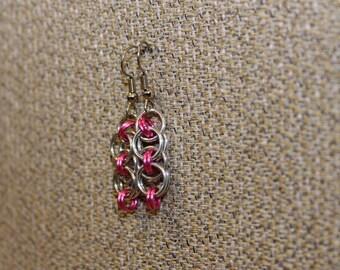 Pink helm earrings