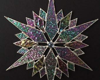 stained glass snowflake suncatcher  (design 35B)