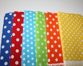 "CUSTOM ""Happy 1st Birthday Elijah""and Polka Dots fabric: light blue, royal blue, green, yellow, red, orange with white dots"