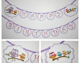 Owls Banner, Birthday Party Banner, Happy Birthday Banner, READY TO SHIP, Owls Birthday Party Decorations Banners