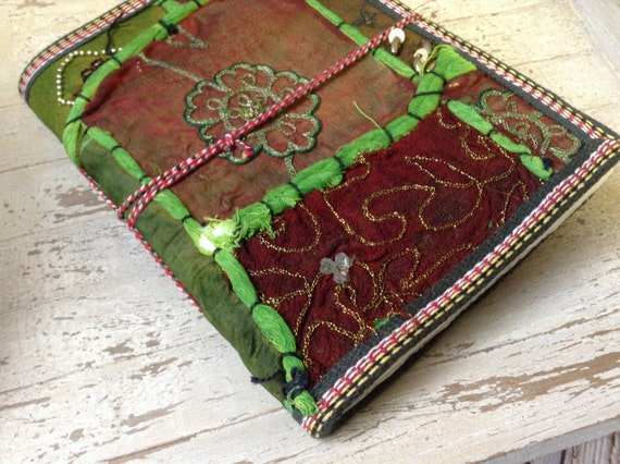 GREEN JOURNAL - Indian sari notebook - Student - Journal - Back to school - Sketch book - Handmade paper - Natural