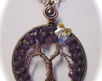 Amethyst Tree of Life, Antiqued Copper Amethyst Tree of Life Pendant, February's Birthstone Tree of Life