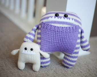 Mommy and Baby Hand Knit Monster Stuffed Animals.