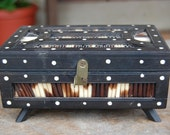 Vintage Footed QUILL ebony wood jewelry BOX bone inlay