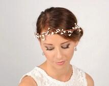 White Berry Headband, Rustic Flower Crown, Wedding Hair Piece, Bridal Hair Vine, Woodland Twig Crown, Boho Head Wreath, Flapper Headpiece
