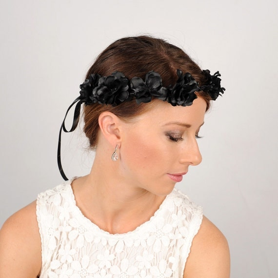 Black Flower Crown Gothic Flower Crown Black Flower: Black Flower Crown Gothic Headband Wedding Hair Piece Black