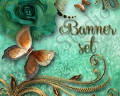 Shop Banner Set shop icon,new etsy cover/banner,avatar/profile picture - rose,butterfly,green,gold