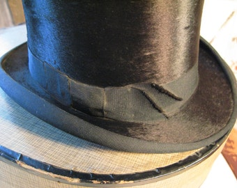 Antique Silk Top Hat with Original Box. Mint.