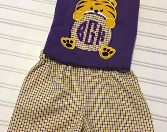 LSU  Tiger Boys outfit, LSU tiger paw set for boys, LSU tigers clothing, purple and gold short set, purple and gold tiger