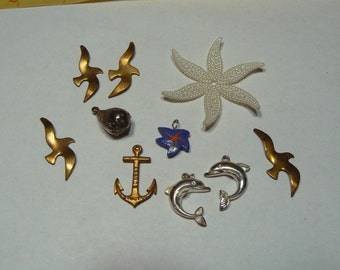 Vintage Seashore Themed Parts Lot including 1890s Anchor Buggy Co., Sterling Porpoises, More (S-16-537)