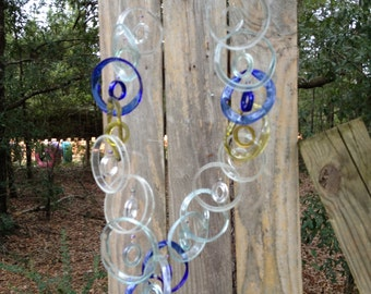 clear, blue, yellow, GLASS WINDCHIME from RECYCLED bottles, windchimes, mobiles, garden decor, wind chime