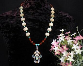 Hamsa Necklace, Evil Eye Necklace, Hamsa Hand Necklace, Hand of Fatima Necklace, Ethnic Jewelry, African Jewelry, Protection Amulet