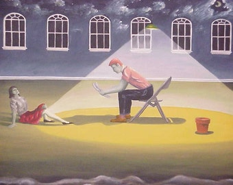 "Artist David Brantley ""Chair"" Original Oil on Canvas Painting Avante-Garde Interpretive"