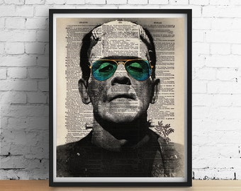Cool FRANKENSTEIN Sunglasses Hipster Dictionary Art Print Poster Halloween Monster Vintage Dictionary Book Page Wall Decor 5x7 8x10 A3 +More