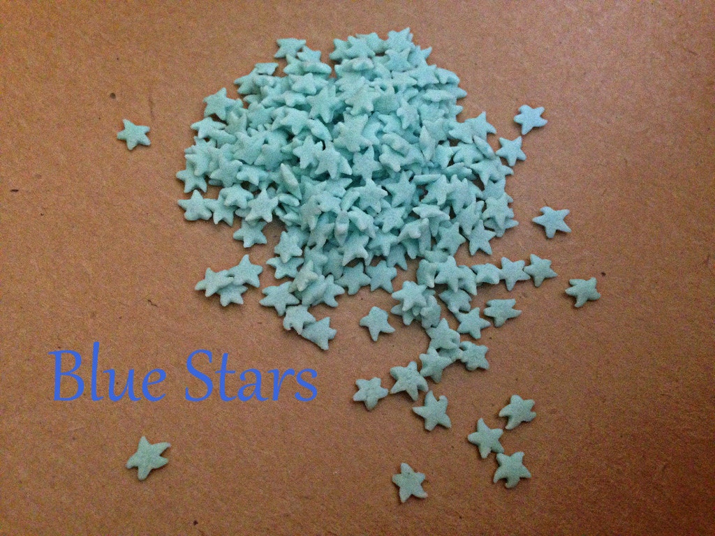 Blue star sprinkles quins shapes decorations for cupcakes for Decorating quins