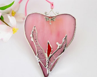 Lovely Coral Pink Heart with a Small Dragonfly Stained Glass Heart