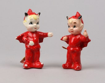 Vintage I'm a Little Devil Salt and Pepper Shakers by Kreiss Japan, Halloween Part Decor or Collectible
