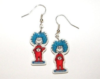 Dr Seuss earrings Thing 1 and Thing 2  Novelty Earrings Dr Seuss