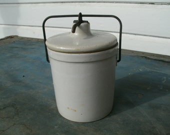 Vintage  White  Butter Or Cheese Crock With Metal Latch