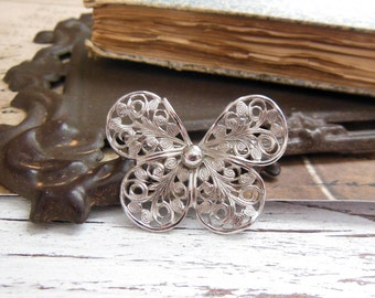 Vintage Silver Tone Filigree Victorian Style Butterfly Estate Brooch Pin LL18