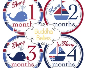 Baby Boy PERSONALIZED Sailboat Monthly Stickers Baby Month Stickers Nautical Baby Stickers Snapsuit Stickers Baby T-shirt Stickers BP119