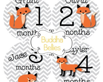 PERSONALIZED Fox Baby Month Stickers Monthly Baby Stickers Fox Baby Shower Gift Red Fox Month to Month Baby Stickers Milestone Photo Prop