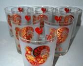 Vintage Rooster glasses Frank Mairetta glasses a set of 6 lo ball cocktail glasses/ juice glasses
