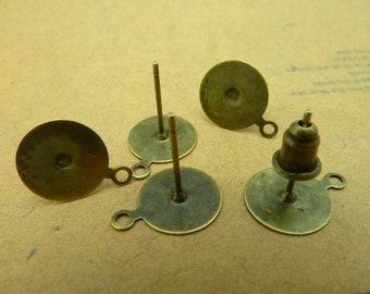 40pcs 10mm antique bronze cabochon earrings settings C3323