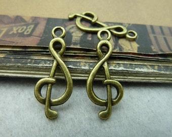 50pcs 10*25mm antique bronze music charms pendant C6013